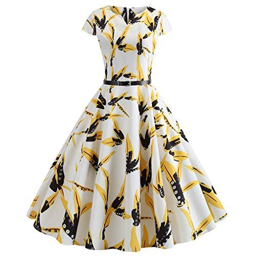 FRAUIT Vintage avondjurk met korte mouwen voor dames, vintage stijl (jaren 50), met V-hals, retro party prom swing jurk casual festival party dansparty kleding