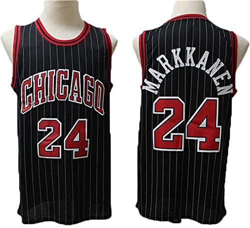 GLACX Jerseys de Baloncesto para Hombres, NBA Chicago Bulls 24# Markkanen Classic Swingman Jersey, Tejido Transpirable Fresco de la Vendimia Uniforme de Ventilador Unisex Unisex,L