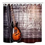 VinMea Music Theme Shower Curtain Set, Electric Guitar in Wooden Home Interior Leaning on Chair Passion Concept, Fabric Bathroom Decorations, Bath Curtains Hooks Included