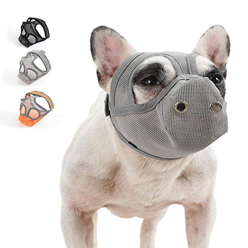 YUESEN Short Snout Dog Muzzle - Adjustable Breathable Mesh Bulldog Muzzle with Tongue Out Design/Dog Mask for Barking Biting Chewing Training (S, Grey)