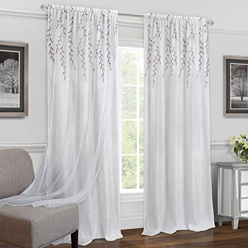 """Achim Home Furnishings Willow Rod Pocket Window Curtain Panel, 42"""" x 63"""", White,WIPN63WH06"""