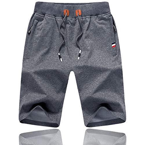 Tansozer Cotton Gym Shorts Summer Casual Sports Shorts Elasticated Waist with Zip Pockets (Dark...