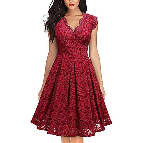 FEOYA Cocktailkleid Rot Damen Knielang Brautkleid Vintage Spitz Brautjungfernkleider Kurz Elegant für Hochzeit Festliches Kleid Ärmellos Midi 38-40