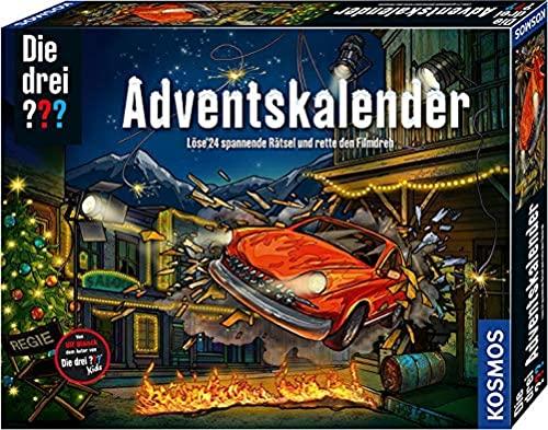 KOSMOS 630560 Die drei ??? Adventskalender 2021, Löse die 24 spannenden Rätsel und rette den Film-Dreh, Spielzeug-Adventskalender für Kinder ab 8 Jahre, Krimi Detektiv Geschichte...