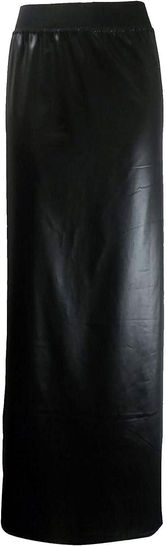 FAIRY TRENDZ LTD Womens Basic Elasticated Waist Plus Size PVC Wet Look Gypsy Maxi Skirts