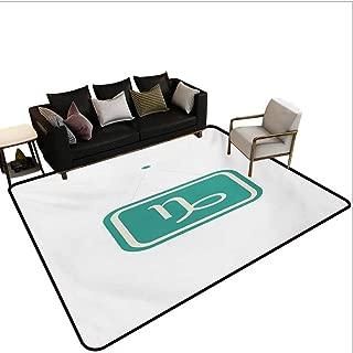 Zodiac Capricorn Rugs Minimalist Design Inspirations Bicolor Zodiac Sign Illustration Bedroom Carpet Pale Sea Green Beige Area 7'6x10'