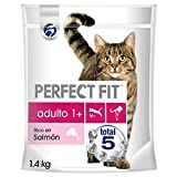 PERFECT FIT Pienso Natural para Gatos Adultos Sabor Salmón (5 bolsas x 1,4kg)