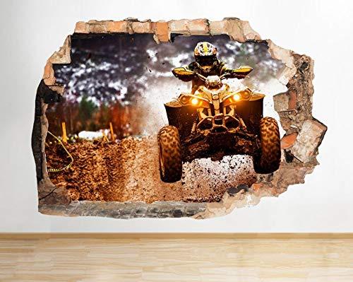 D859 Quad Off Road Cool Boys zertrümmert Wandtattoo 3D Kunst Aufkleber Vinyl Zimmer groß