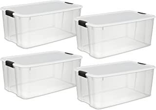 STERILITE 19909804 116 Quart/110 Liter Ultra Latch Box, Clear with a White Lid and Black Latches