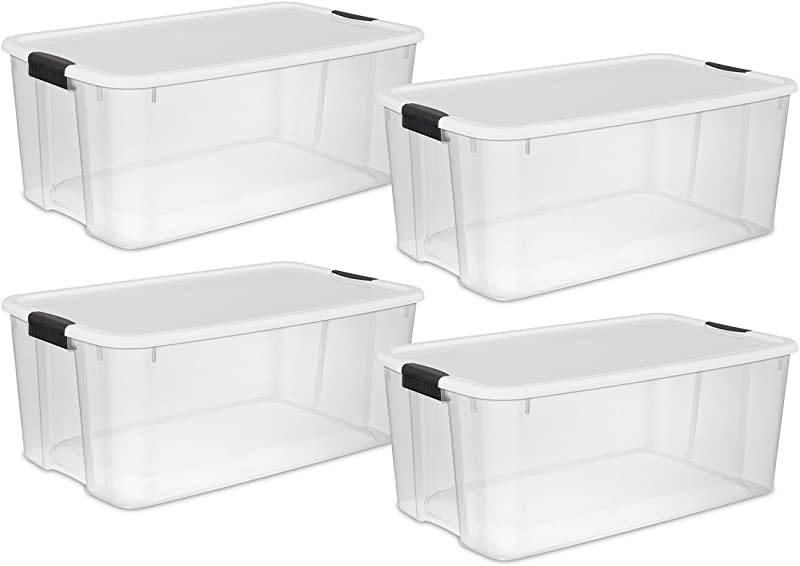 STERILITE 19909804 116 Quart 110 Liter Ultra Latch Box Clear With A White Lid And Black Latches