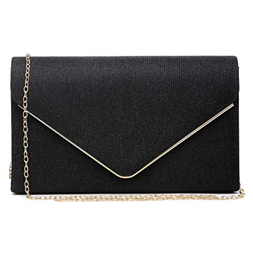 Women Glistening Clutches Handbags Evening Bags Wedding Purses Cocktail Prom Party Clutches (Black)