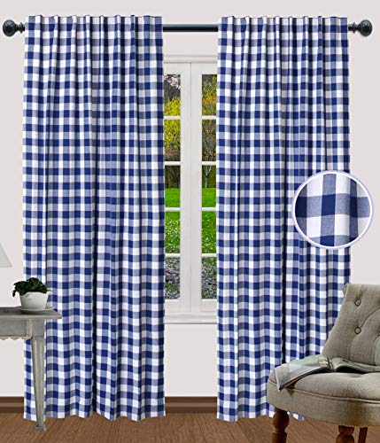 Dining Room Curtains, Gingham Check Curtains, Rod Pocket Curtain, Window Treatment, Décor panel, Check Curtains, Reverse Window Panels, Curtain Panels for Door- 50x96 Inch-Navy White-Set of 2 Panels