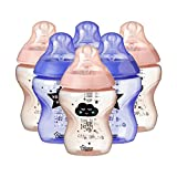 Tommee Tippee Biberons Catch Me Quick, 260 ml, Valve Anti-Colique, Tétine Souple, Lot de 6, Roses et Violets