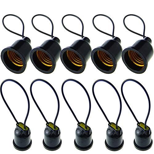 Casquillo de Luz E27, 10 Unidades E27 Portalámparas, Rosca Edison, Base de Luz, Casquillo E27, Montaje de Lámpara a Prueba de Agua