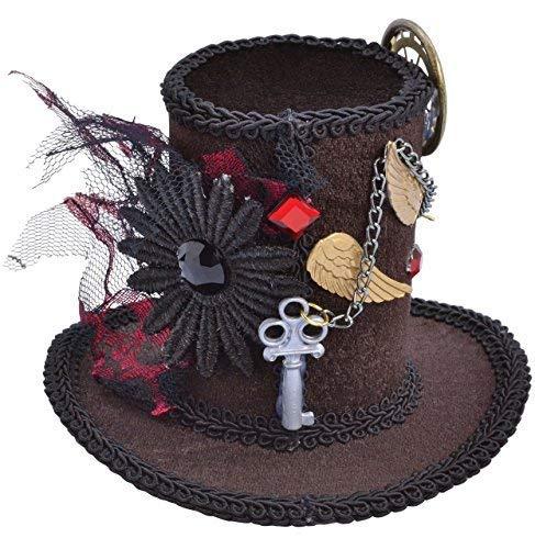 Fancy Me Donna Steampunk Vittoriano Cappellaio Matto Halloween Mini Cappello Costume da Festa Vestito Accessorio - One Size
