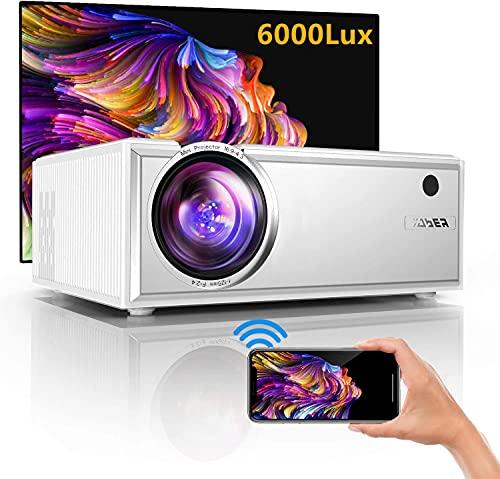 Proyector WiFi,YABER Y61 6000 Lúmenes Proyector WiFi Portátil Soporta Full HD 1080P Mini Proyector 720P Vídeo Proyector Cine en Casa Sonido Hi-Fi para Telefono/iPad/PC HDMI USB VGA SD PS4 (Blanco)