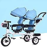 SKYyao Passeggino,Triciclo per bambini Passeggino gemellare doppio sedile girevole a un pulsante Pedale pieghevole per bambino