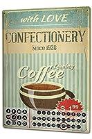 カレンダー Perpetual Calendar Kitchen Coffee Tin Metal Magnetic