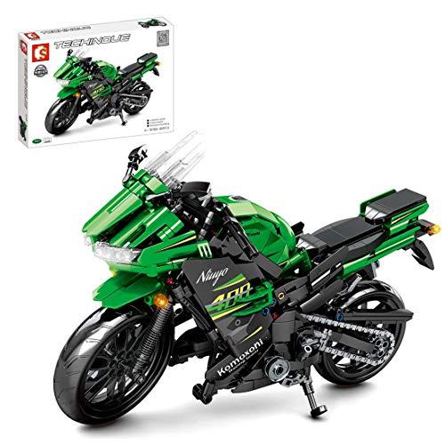 FADF Motorrad Bausteine, 862 Stück Rennen Stoßdämpfer Motorrad Bausatz, Motorrad Modellbau, Kompatibel mit Lego Technik