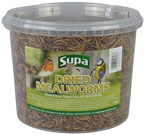 Supa Dried Mealworms for Wild Birds, 3 Litre Bucket | High Energy Protein Rich Treat For Garden Birds | Attract More Birds To Your Garden | Quality Wild Bird Food, 1