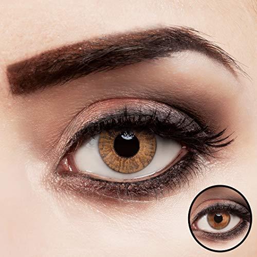 aricona Kontaktlinsen farbig hellbraun ohne Stärke Jahreslinsen stark deckend 2 Stück