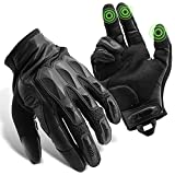 GRAMFIRE Tactical Gloves Military Gear Shooting Gloves TPR Knuckle Protective Black Paintball Gloves Touchscreen Leather Motorcycle Gloves for Men