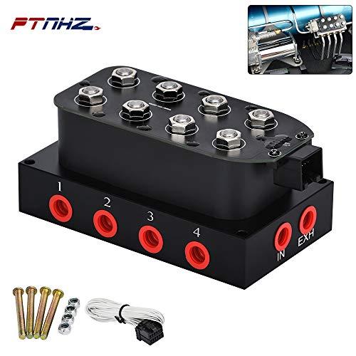 PTNHZ Universal 1/4 NPT 0-300Psi12V Control Air Bag Suspension 4Corner Block Manifold Solenoid Valve For Auto Motorcycle