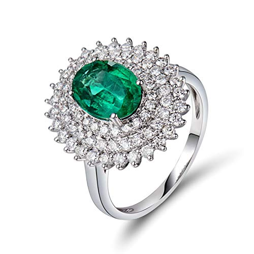 Daesar Anillos Mujer Oro Blanco 18 Kilates,Oval Esmeralda Verde 1.4ct Diamante 0.85ct,Plata Verde Talla 6,75