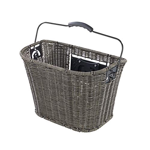 Büchel Fahrrad-Lenkerkorb aus hochwertigem Polyrattan, grau 40503810