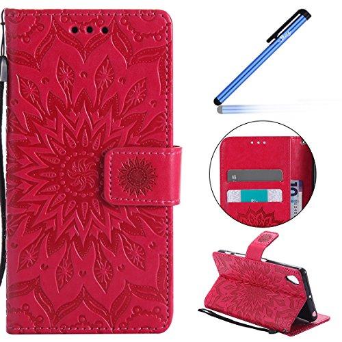 Ysimee Coque Sony Xperia X Performance, Étui Portefeuille Magnétique Fleur en Relief Cuir Folio Housse Con TPU Bumper Porte-Cartes Fonction Support Coque à Rabat pour Sony Xperia X Performance,Rouge