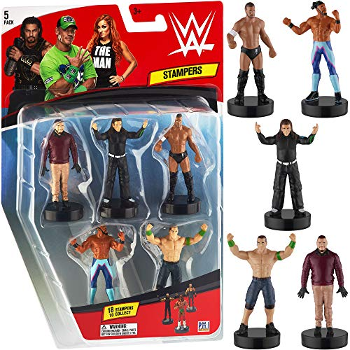 WWE Superstar Stampers, Set of 5 - Self-Inking WWE Superstars for Crafts, Party Decor, Cake Toppers Gifts - Jeff Hardy, Kofi Kingston, John Cena, Finn Balor and More by PMI, 2.3-2.5 in. Tall.