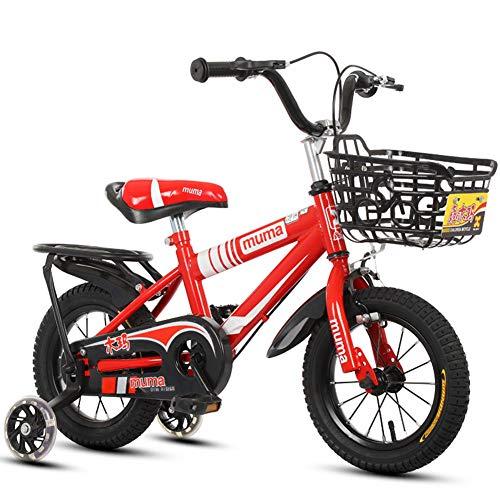 Meisjesfiets voor 2-9 jaar oud 12 14 16 18 inch fiets met steunwielen, spannend cadeau-idee voor kinderen met mand en achterkant, rood, 18 inch