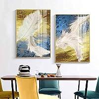 """モダンミニマリストフェザー抽象ポスター廊下通路レストランリビングルーム背景壁家の絵画装飾(60x90cm / 23.6 """"x35.4"""")x2フレームレス"""