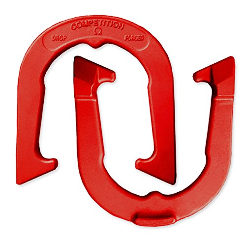 Competition Tournament Pitching Horseshoes - Red Finish - NHPA Sanctioned for Tournament & League Play - Drop Forged Construction - One Pair (2 Shoes)