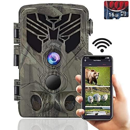 SuntekCam Caméra de chasse Wi-Fi 2,7 K 24 MP Bluetooth avec vision nocturne infrarouge étanche IP66 pour surveillance des animaux sauvages avec grand angle de 120°
