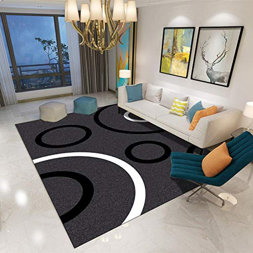 SYFANG Living Room/Bedroom/Study/Coffee Table Carpets,Black and white ring grey carpetAffordable living room carpet, 120X160cm (47X63inch)