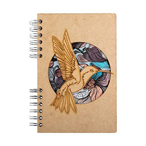 KOMONI - Quaderno in legno rilegato a spirale multiuso - carta riciclata - Bullet Journal - diario di viaggio - ricettario - Sketchbook - disegno e arte - Kolibrie Bloem (A4, Righe di Carta)