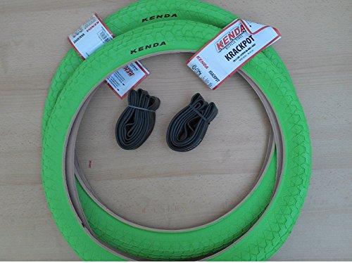 2 x Kenda BMX Freestyle Fahrrad Reifen 20Zoll 20x1.95 50-406 KRACKPOT grün + 2 Schläuche Kenda AV (Autoventil)