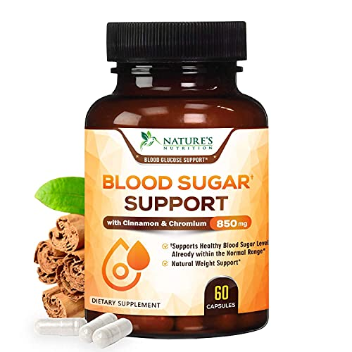 Blood Sugar Support Extra Strength Glucose Metabolism Support Supplement with Cinnamon, Alpha Lipoic Acid and Chromium - 20 Herbs & Vitamin Blend - Made in USA - Best Vegan Complex - 60 Capsules