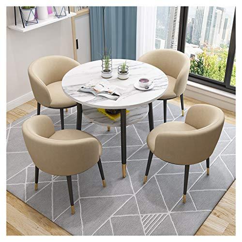 Büro, Tisch und Stuhl, Wohnzimmer, Konferenzraum, europäischer Garten, Doppelschicht, kreativer Tisch, Flur, Empfang, Bad, 1 Tisch und 4 Stühle, aus Baumwolle und Leinen, Stoff khaki