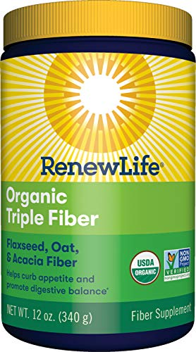 Renew Life Adult Fiber Supplement - Organic Triple Fiber - Dietary Fiber - Dairy & Soy Free - 12 Ounce, (Packaging May Vary)