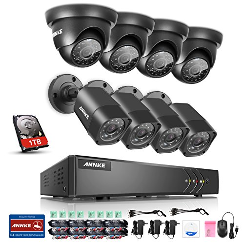 ANNKE 8CH TVI-720P DVR 1080P NVR Recorder with 1TB Hard Drive Included and (8) HD 1280tvl 1.0MP Weatherproof Security Cameras, Easy Remote Web/Mobile Access