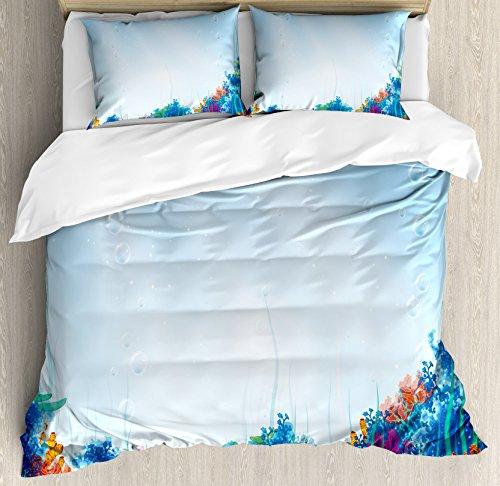 Bajo el agua juego de funda nórdica por Ambesonne, marina Coral Reef acuáticas escena estrella de mar océano mar Exotic nautucal diseño, decorativo juego de cama con almohada, azul rosa naranja