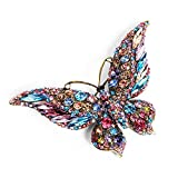 Rosette Hair Rhinestone Butterfly Brooch - Colorful Shining Crystal Brooch Pin Decoration Gift for Women Girls (Multi)