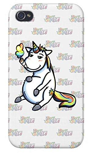 Apple iPhone Custom Case 5 / 5S White Plastic Snap On - Pot Smoking Pals Unicorn