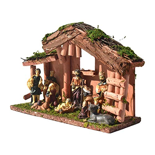 tanbea-UK Natividad de Navidad, Natividad Casa Figura Religiosa Ornamento Hecho a Mano de Resina Decoración del Hogar Natividad Conjuntos para la Decoración de Vacaciones Escenas al aire libre