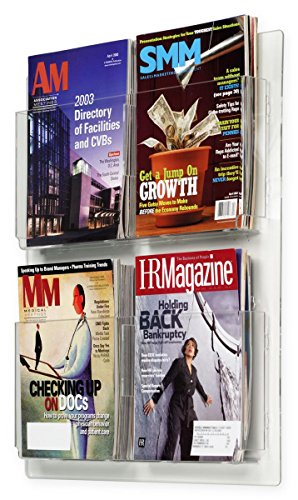 Hanging Magazine Racks 20�w x 23�h x 2�d Clear Acrylic Wall Mounting Brochure Holders � Plexiglas Literature Displays Have Adjustable Dividers for Four or Eight Pockets