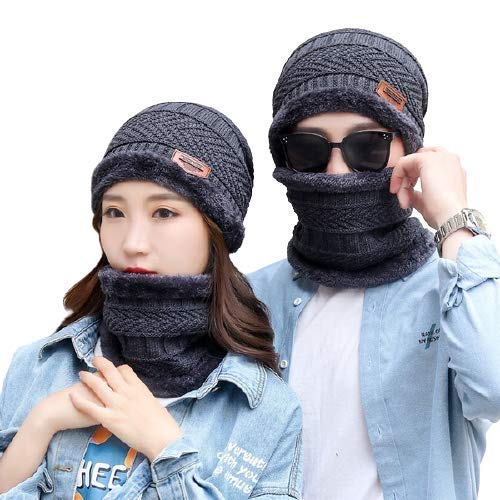 Bandhan Ultra Soft Unisex Woolen Beanie Cap + Neck Scarf Set for Ladies I Women I Girl - Warm, Snow Proof Grey Color