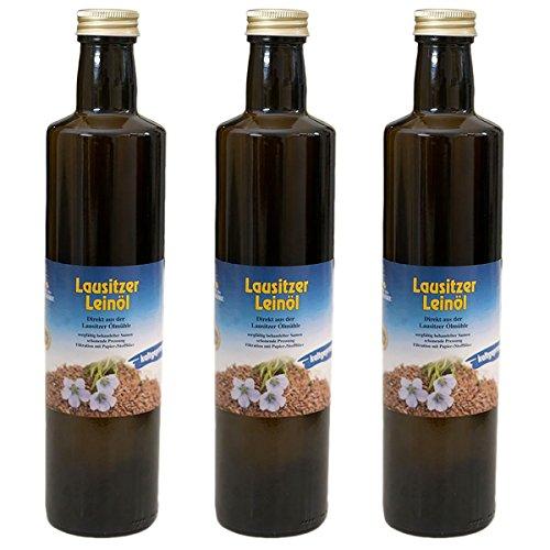 3 x Lausitzer Leinöl (kaltgepresstes Leinöl), 3x 500ml