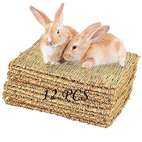 PINVNBY Rabbit Grass Mat, BunnyNatural Straw Woven Bed, Small Animal Hay Mat Sleeping, Chewing,...